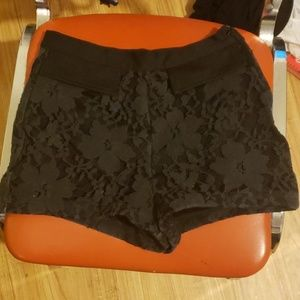 Forever 21 Black High Waisted Lace Shorts